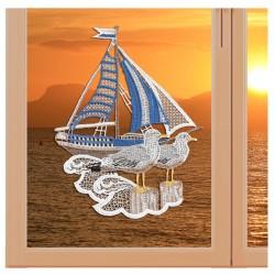"""Fensterbild maritim Motiv """"Segelschiff"""" echte Plauener Spitze Variation"""