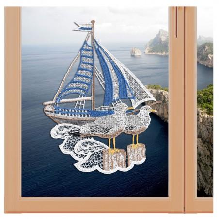 """Fensterbild maritim Motiv """"Segelschiff"""" echte Plauener Spitze"""