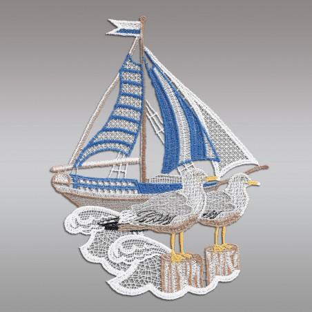 """Fensterbild maritim Motiv """"Segelschiff"""" echte Plauener Spitze Detail ohne HG"""