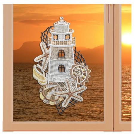 """Fensterbild maritim Motiv """"Leuchtturm"""" echte Plauener Spitze Variation"""