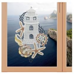 "Fensterbild maritim Motiv ""Leuchtturm"" echte Plauener Spitze"