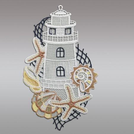 """Fensterbild maritim Motiv """"Leuchtturm"""" echte Plauener Spitze ohne Fenster"""