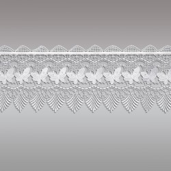 Landhaus-Gardine Schmetterling Scheibengardine 30cm ohne Hintergrund