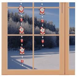 Girlande / Fensterbild Weihnachtsmann-Fensterdekoration aus Echter Plauener Spitze am Fenster