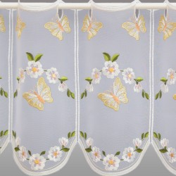 Scheibengardine Schmetterlinge mit Blüten 30 cm Detailbild