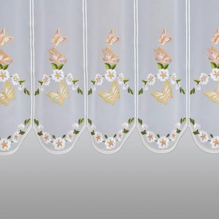 Scheibengardine Schmetterlinge mit Blüten 49 cm Detailbild