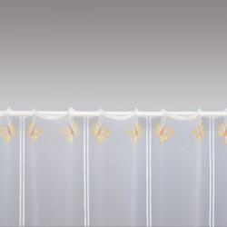 Scheibengardine Schmetterlinge mit Blüten 49 cm Detailbild Stablöcher
