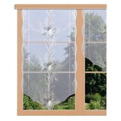 Scheibenhänger Blüte in Grau lang am Fenster