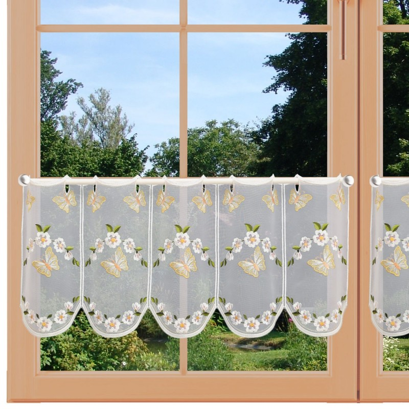 Scheibengardine Schmetterlinge mit Blüten 30 cm am Fenster