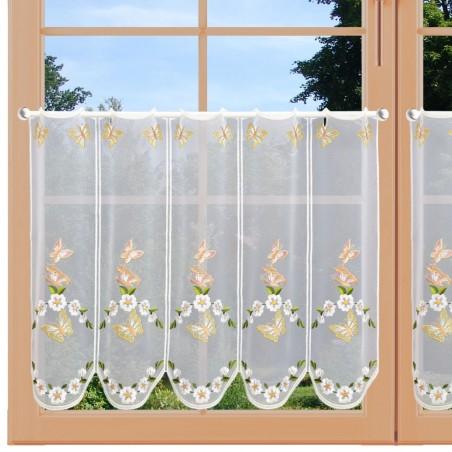 Scheibengardine Schmetterlinge mit Blüten 48 cm am Fenster