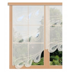 Scheibenhänger Vanessa in sekt aus Plauener Spitze am Fenster