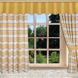 Querbang Fanni in gelb uni mit Reihband am Fenster kombiniert mit Dekoschals
