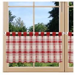 Scheibenhänger Fanni in rot kariert mit Schlaufen am Fenster