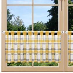 Scheibenhänger Fanni in gelb kariert mit Schlaufen am Fenster