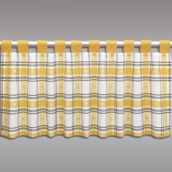 Scheibenhänger Fanni in gelb kariert mit Schlaufen Musterbild