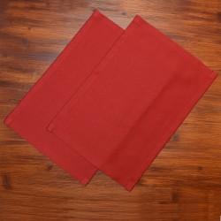 Platzdeckchen Fanni in rot uni auf Holz