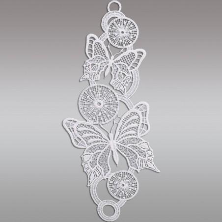 Fensterbild Frühling Schmetterlinge weiß Echte Plauener Spitze