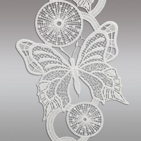 Fensterbild Frühling Schmetterlinge weiß Echte Plauener Spitze Detailbild