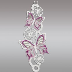 Fensterbild Frühling Schmetterlinge lila Echte Plauener Spitze