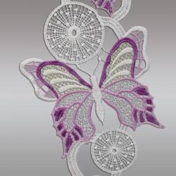 Fensterbild Frühling Schmetterlinge lila Echte Plauener Spitze Detailbild