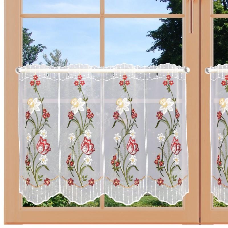 Scheibengardine Frühlingsblumen Rot Gelb Plauener Spitze am Fenster