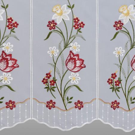 Scheibengardine Frühlingsblumen Rot Gelb Plauener Spitze Detailbild