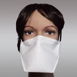 Mund- und Nasen-Maske weiß größenverstellbar Behelfs-Mundschutz 3-lagig sterilisierbar Beispiel