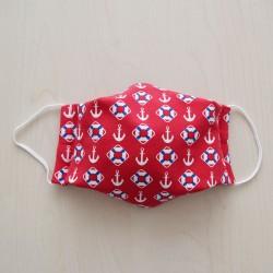 Mund- und Nasen-Maske für Kinder rot mit Anker und Schwimmring
