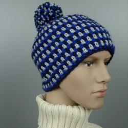 Kuschel-Mütze mit Bommel & Fleece-Futter - Blautöne