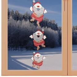 Girlande / Fensterbild Weihnachtsmann - Fensterdekoration aus Plauener Spitze am Fenster
