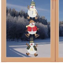 Girlande / Fensterbild 3 Schneemänner - Fensterdekoration aus Plauener Spitze am Fenster