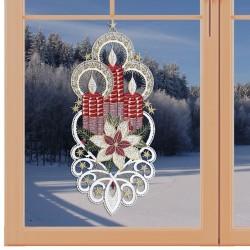 Klassisches Fensterbild Kerzenglanz Weihnachtsdeko aus Plauener Spitze am Fenster