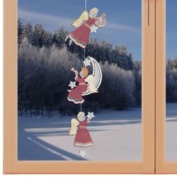 Girlande / Fensterbild 3 Engel - Fensterdekoration aus Plauener Spitze am Fenster
