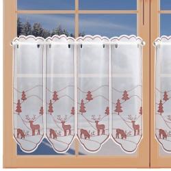 Scheibenhänger Hirsch rot Plauener Spitze am Fenster