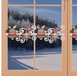 Feenhaus-Scheibengardine Glocke mit Stern Plauener Spitze am Fenster