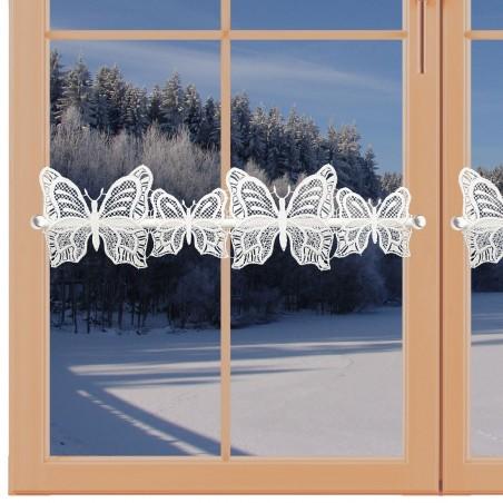 Feenhaus-Scheibengardine Schmetterlinge Plauener Spitze am Fenster Winter