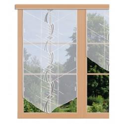 Scheibenhänger Maxi in weiß und anthrazit aus Plauener Spitze am Fenster dekoriert