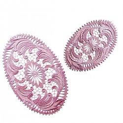 "Spitzendecken Set ""Plauen"" Echte Plauener Spitze rosé oder weinrot 2 Stück oval"