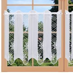 Bestickte Landhaus-Scheibengardine Flora Weiß 45 cm hoch an einem Fenster