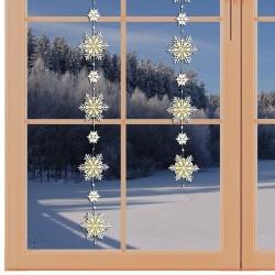 Girlande / Fensterbild Schnee-Stern weiß-gold am winterlichen Fenster
