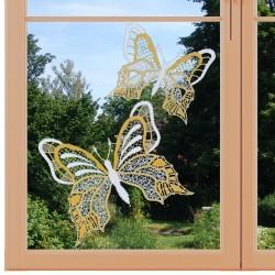 Set 2 Stück Fensterbilder Schmetterlinge gelb Nahansicht am Fenster