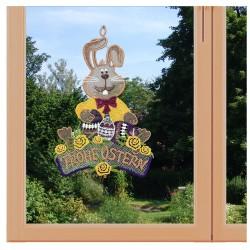 Fensterbild Frohe Ostern Plauener Spitze am Fenster
