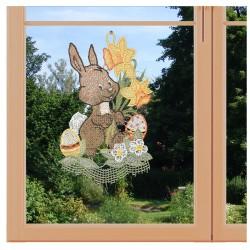 Fensterbild Hase mit Osterglocken Plauener Spitze am Fenster