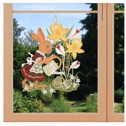 Fensterbild Osterzeit Plauener Spitze am Fenster