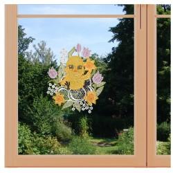 Oster-Fensterbild Küken Plauener Spitze am Fenster
