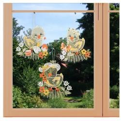 3er Set Fensterbilder Küken Trio Plauener Spitze am Fenster