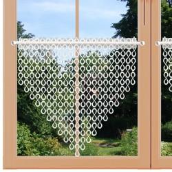 Scheibenhänger Isabella weiß aus Plauener Spitze kurz am Fenster