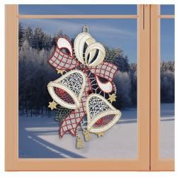 Klassisches Fensterbild Schleife mit Weihnachts-Glocken Weihnachtsdeko aus Plauener Spitze an einem Fenster