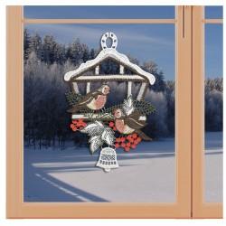 Klassisches Fensterbild Vogelhaus mit Winter-Vögeln Weihnachtsdeko aus Plauener Spitze an einem Fenster