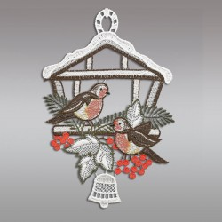 Klassisches Fensterbild Vogelhaus mit Winter-Vögeln Weihnachtsdeko aus Plauener Spitze Einzeldarstellung